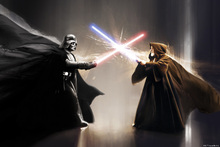 Lerretsbilde - Star Wars - Darth Vader and Obi-Wan Kenobi