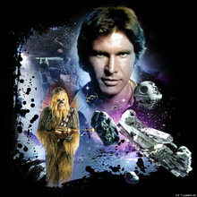 Lerretsbilde - Star Wars - Han Solo and Chewbacca Blue