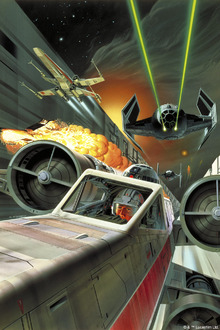 Fototapet - Star Wars - Death Star and X-wing Fighters