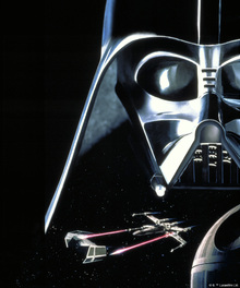 Lerretsbilde - Star Wars - Darth Vader and X-wing Starfighters