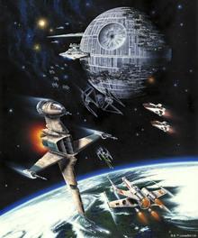 Canvastavla - Star Wars - Death Star and Endor