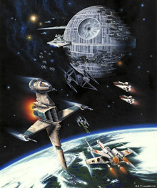 Canvastavla - Star Wars - Death Star and Endor