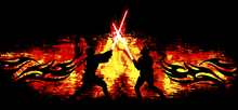 Wall mural - Star Wars - Lightsaber Fight Flames