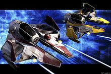 Canvasschilderij - Star Wars - Starfighters Red and Yellow