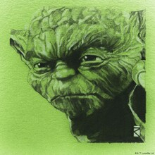 Canvastavla - Star Wars - Yoda Green Graphite