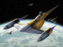 Fototapet - Star Wars - Naboo Starfighters 1
