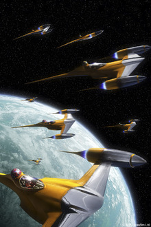 Canvasschilderij - Star Wars - Naboo Starfighters 2