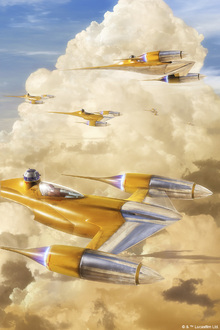 Valokuvatapetti - Star Wars - Naboo Starfighters Clouds