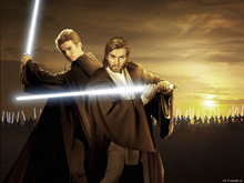Canvastavla - Star Wars - Anakin and Obi-Wan Sunset
