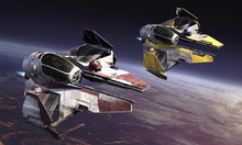 Canvasschilderij - Star Wars - Starfighters over Planets 1