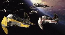 Canvastavla - Star Wars - Starfighters over Planets 3