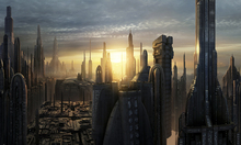 Canvastavla - Star Wars - Coruscant Buildings Sunset