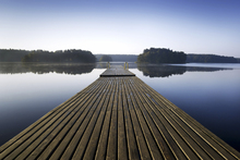 Lærredsprint - Wooden Pier at Morning