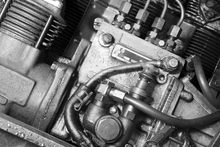 Wall mural - Car Engine - Monochrome