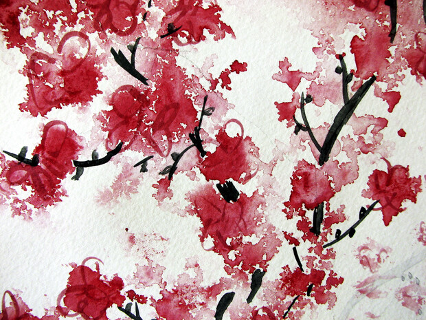 Cherry blossom watercolor wall mural photo wallpaper for Cherry blossom wallpaper mural