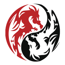 Wall mural - Circle Dragons - Red