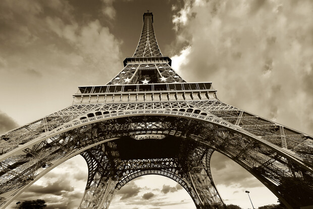 Eiffel tower sepia wall mural photo wallpaper for Eiffel tower wall mural black and white