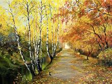 Fototapet - Autumn Road Along the Channel