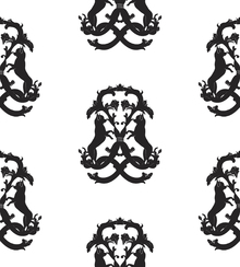 Wallpaper - Dog Medallion - White