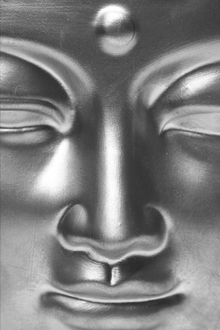 Fototapet - Golden Buddha Close Up - b/w