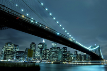 Canvasschilderij - Brooklyn Bridge at Night
