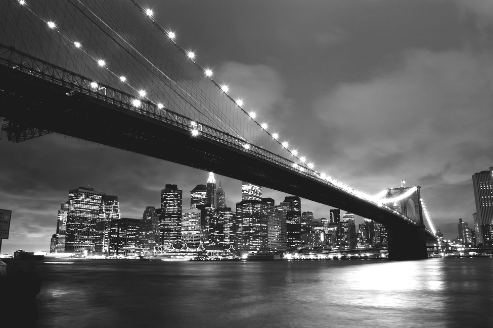 Brooklyn Bridge at Night - b/w