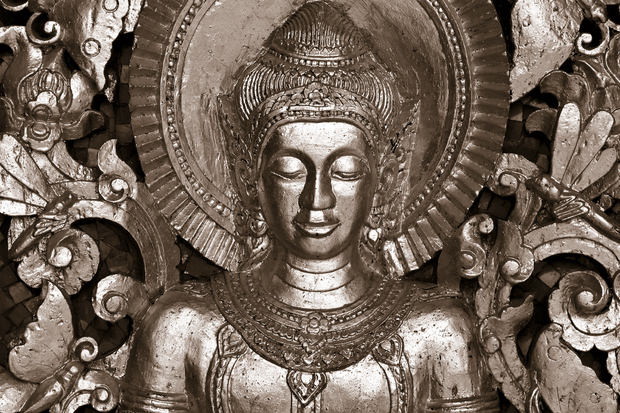 Buddha luang prabang sepia wall mural photo for Buddha wall mural