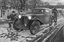 Fototapet - Winter Rally BW