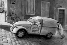Fototapet - Car In Paris BW