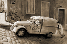 Canvasschilderij - Car In Paris Sepia