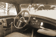 Wall Mural - B11 Steering Wheel Sepia