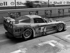 Wall mural - Car In Pit Lane BW