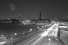 Fototapet - Stockholm Night - b/w