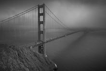 Fototapet - Golden Gate - b/w