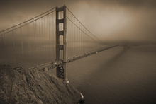 Lærredsprint - Golden Gate - Sepia