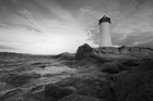 Fototapet - Sardinia Lighthouse - b/w