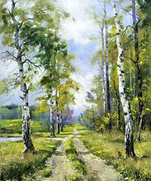 Canvasschilderij - Birch Path