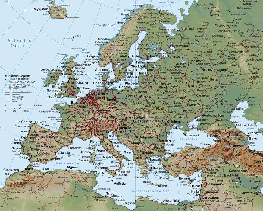 Europe Map Wall Mural Photo Wallpaper Photowall