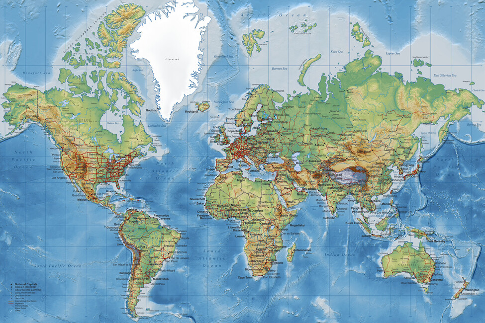World Map With Roads Wall Mural Photo Wallpaper Photowall