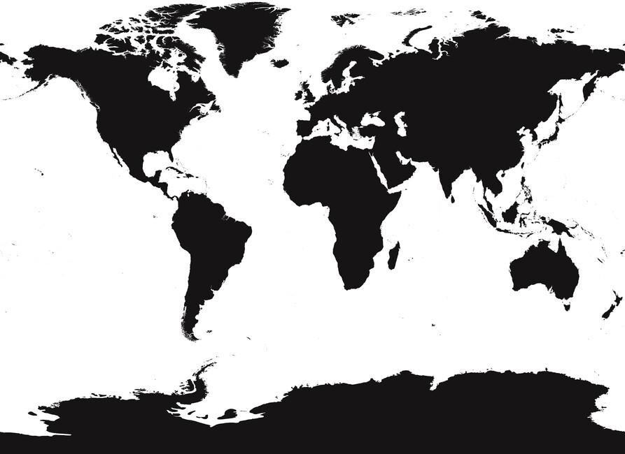 World Map Canvas Print Canvas Art Photowall - World map black and white
