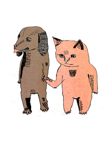 Fototapete - Cat and Dog
