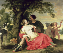 Canvastavla - Venus and Adonis - Abraham Janssens