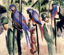 Wall mural - Blue Parrots - August Macke