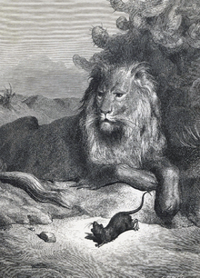 Wall mural - Lion and the Mouse -  Gustave Dore