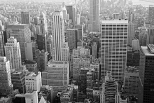 Fototapet - Manhattan at Dusk - b/w
