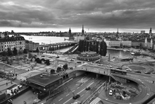 Fototapet - Stockholm Cloudy Evening - b/w
