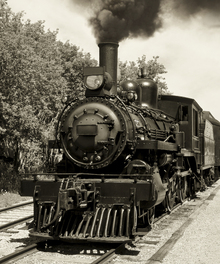 Fototapete - Old Locomotive - Sepia