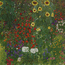 Leinwandbild - Garden with Sunflowers. Gustav Klimt