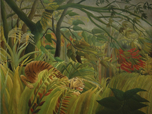 Wall mural - Tiger in a Tropical Storm, Henri Rousseau