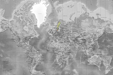 Fototapet - World Map - Detailed with Roads - Colorsplash